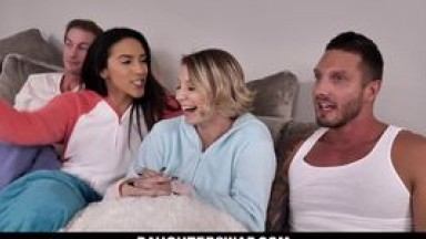 DaughterSwap - Dads FuckedDaughters After Watching A Scary Movie - Daughter Swap (Adrian Hush, Cara May)