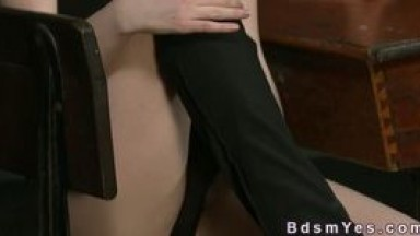 Femdom hairy pussy rubbing in dungeon